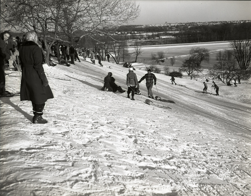 Winter sport scenes: toboggan hill